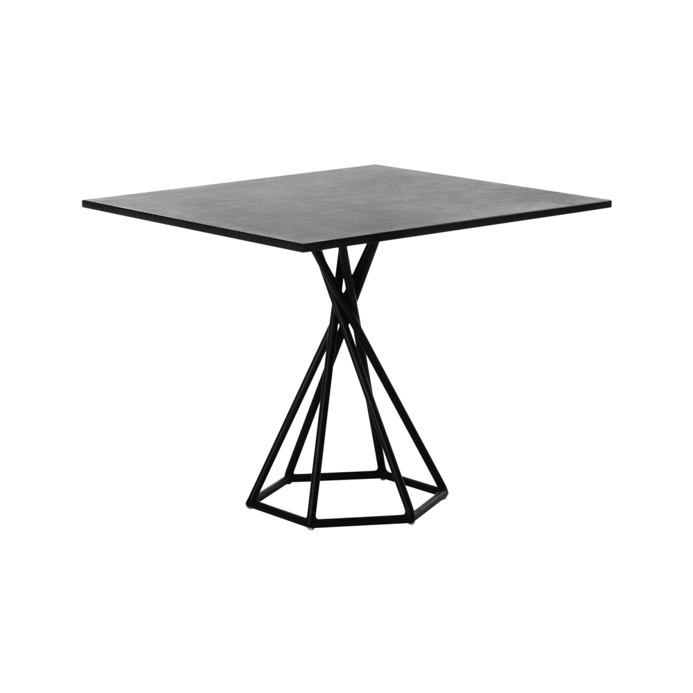 Jane Hamley Wells BB 8201 square dining table granite on powder-coated hexagon base