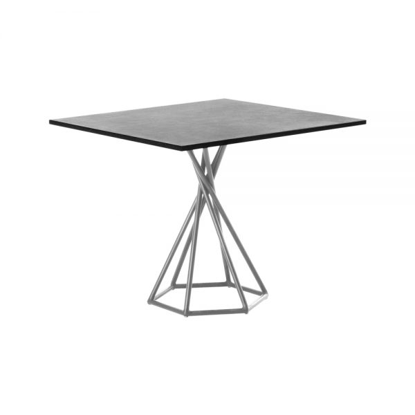 Jane Hamley Wells BB 8201 square dining table granite on stainless steel hexagon base
