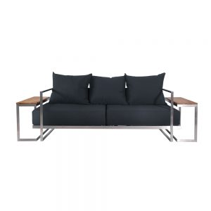 Jane Hamley Wells ABSORPTION_AS5054_A modern indoor outdoor lounge 2-Arm sofa sectional teak stainless steel frame seat cushions back pillows