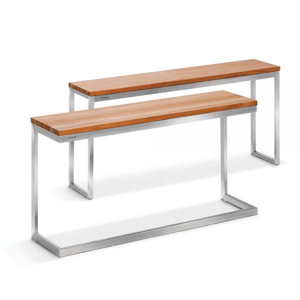 Jane Hamley Wells ABSORPTION_AS801-C_AS802 modern indoor outdoor side table teak top stainless steel group_1