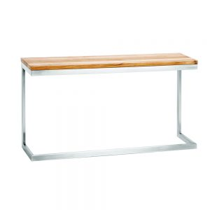 Jane Hamley Wells ABSORPTION_AS801-C_A modern indoor outdoor side table teak top stainless steel C-Frame