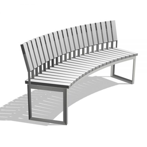 Jane Hamley Wells ARA_DSC1012002_A commercial urban park curved bench with backrest polyethylene seat steel frame