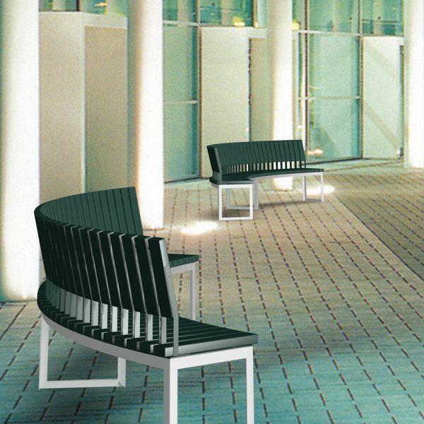 Jane Hamley Wells ARA_DSC1012002 commercial urban park curved bench with backrest polyethylene seat steel frame lifestyle_1