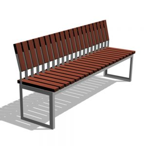Jane Hamley Wells ARA_DSC1012003_A commercial urban park straight bench with backrest hardwood seat steel frame
