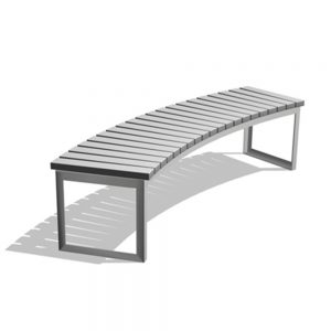 Jane Hamley Wells ARA_DSC1013002_A commercial urban park curved bench backless polyethylene seat steel frame