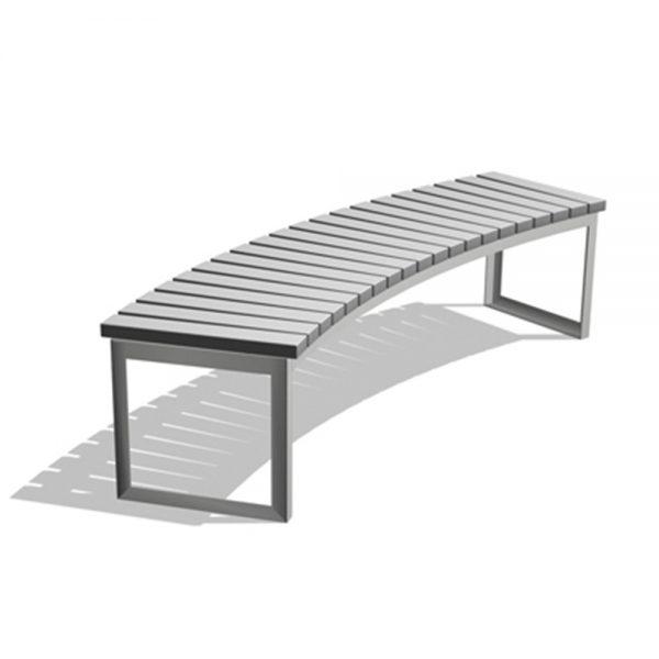 Jane Hamley Wells ARA_DSC1013002_A commercial urban park curved bench backless polyethylene seat steel frame