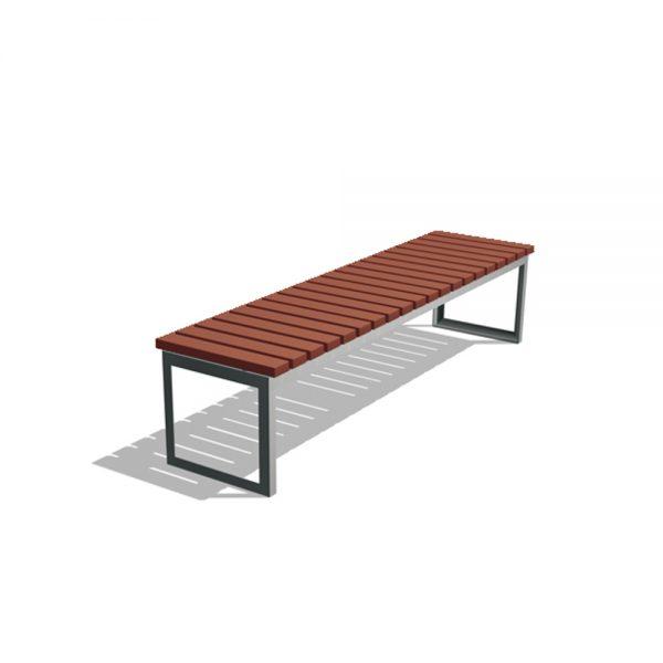 Jane Hamley Wells ARA_DSC1013003_A commercial urban park straight bench backless hardwood seat steel frame