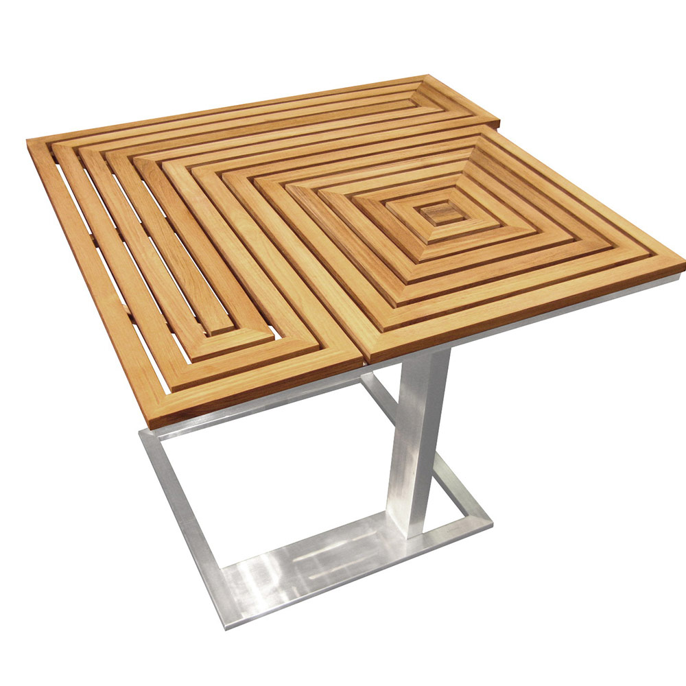 Jane Hamley Wells ARENA_AR8554_A modern outdoor side table teak top stainless steel