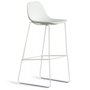 Jane Hamley Wells BABETTE_BABSL-SG-80_A modern restaurant bar stool polyurethane seat chrome or painted steel sled base