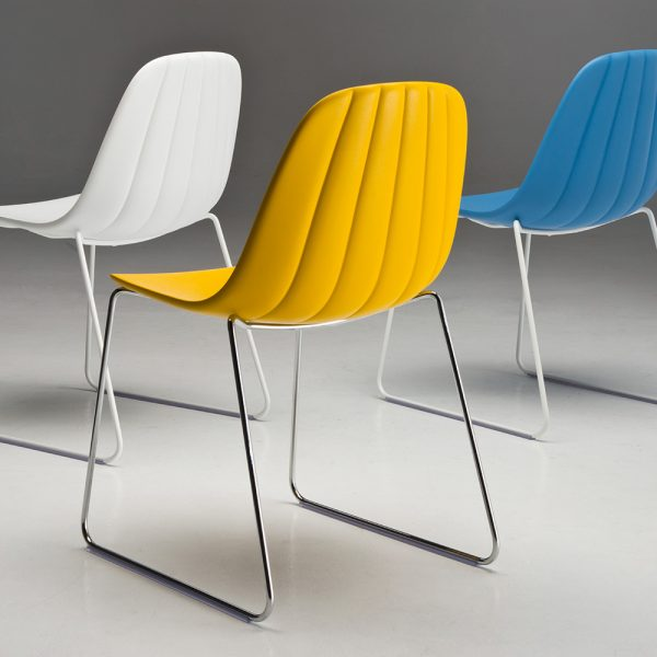 Jane Hamley Wells BABETTE_BABSL_B modern café restaurant side chair molded polyurethane seat on sled base