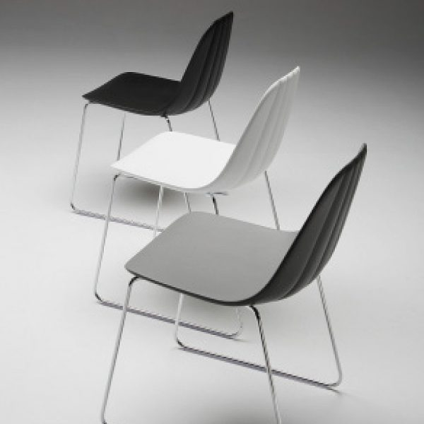 Jane Hamley Wells BABETTE_BABSL_C modern café restaurant side chair molded polyurethane seat on sled base