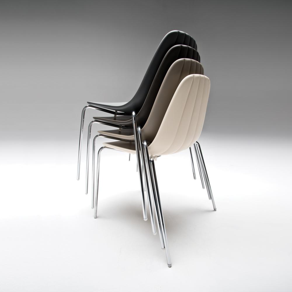 Jane Hamley Wells BABETTE_BABS_A modern stacking café restaurant side chair molded polyurethane seat steel legs