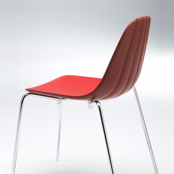 Jane Hamley Wells BABETTE_BABS_B modern stacking café restaurant side chair molded polyurethane seat steel legs