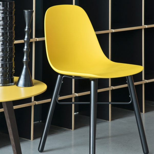 Jane Hamley Wells BABETTE_BABW_C modern café restaurant side chair molded polyurethane seat on wood legs with contrasting metal stretchers