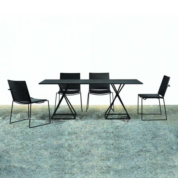 Jane Hamley Wells BB_BB8102 modern indoor outdoor rectangle dining table granite powder-coated square base lifestyle_1