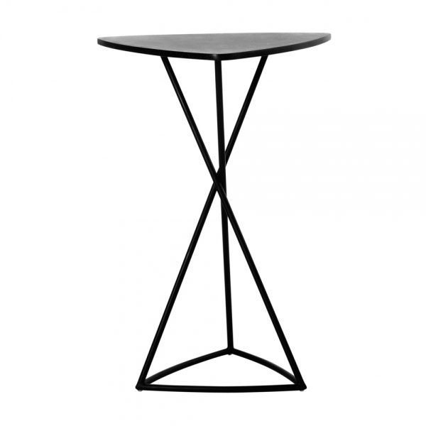 Jane Hamley Wells BB_BB8103_A modern indoor outdoor triangle bar table granite powder-coated triangle base