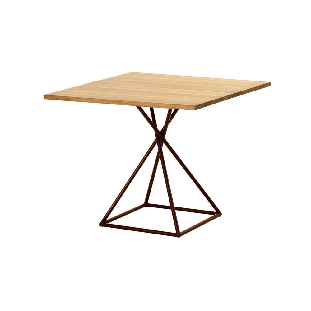 Jane Hamley Wells BB_BB8111_A modern indoor outdoor square dining table teak powder-coated bronze square base