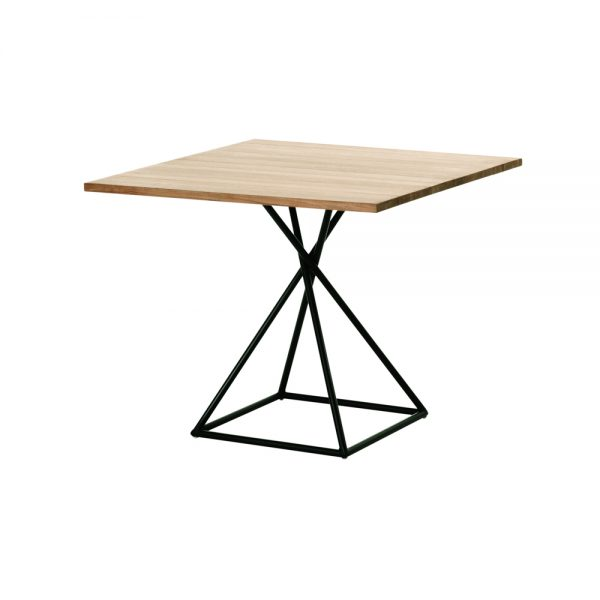 Jane Hamley Wells BB_BB8111_A modern indoor outdoor square dining table teak powder-coated square base