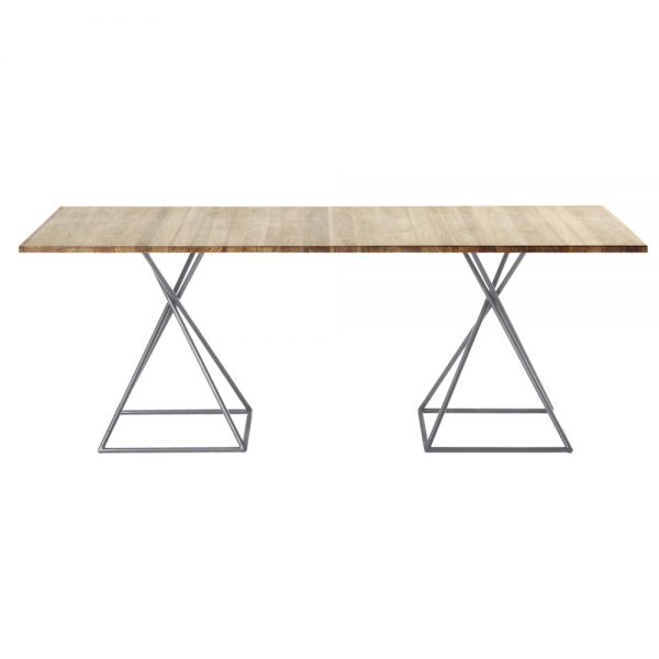 Jane Hamley Wells BB_BB8112_A modern indoor outdoor square dining table teak stainless steel square base