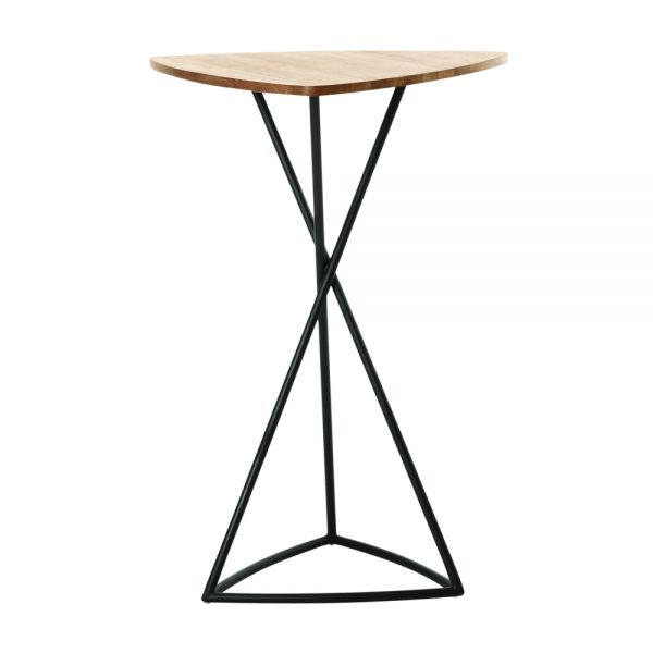 Jane Hamley Wells BB_BB8113_A modern indoor outdoor triangle bar table teak powder-coated triangle base