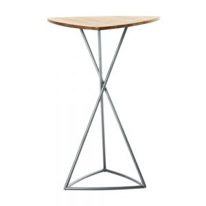Jane Hamley Wells BB_BB8113_A modern indoor outdoor triangle bar table teak stainless steel triangle base