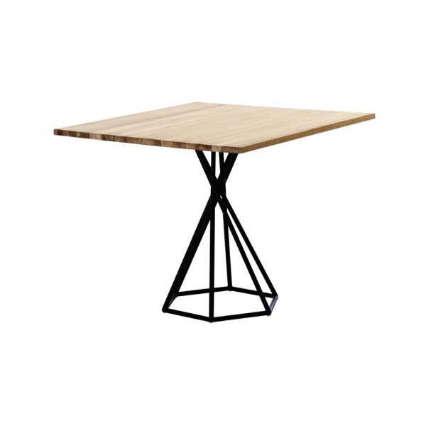 Jane Hamley Wells BB_BB8211_A modern indoor outdoor square dining table teak powder-coated hexagon base