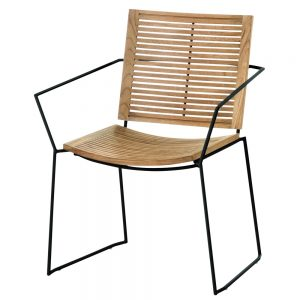 Jane Hamley Wells BB_BB9101-PDC_A contemporary outdoor stacking restaurant armchair teak powder-coated stainless steel