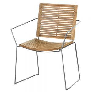 Jane Hamley Wells BB_BB9101-SS_A contemporary outdoor stacking restaurant dining armchair teak stainless steel