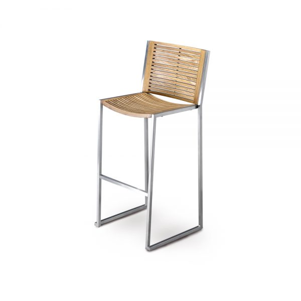 Jane Hamley Wells BEO_BO-9700_A modern outdoor stackable restaurant bar stool teak seat and back stainless steel frame