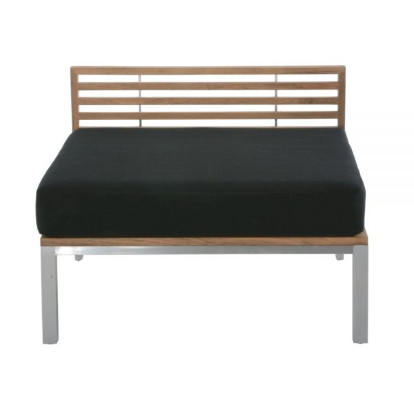 Jane Hamley Wells BEO_BO5882_A modern indoor outdoor armless sofa sectional teak stainless steel base with upholstered cushions