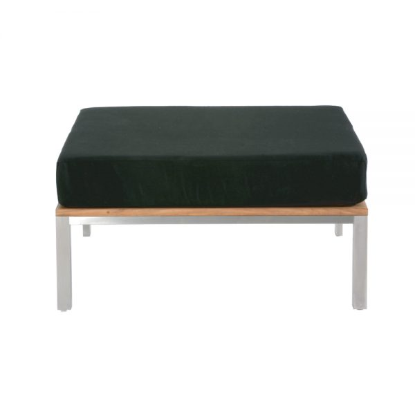 Jane Hamley Wells BEO_BO5883_A modern indoor outdoor ottoman teak stainless steel base with upholstered cushion