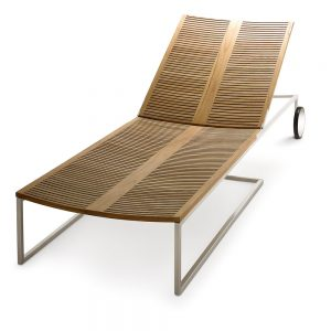 Jane Hamley Wells BEO_BO7997W modern indoor outdoor wheel lounger teak stainless steel optional cushion