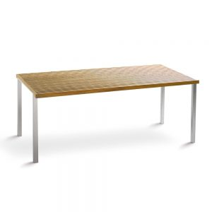 Jane Hamley Wells BEO_BO8102_A modern outdoor rectangle dining table teak top stainless steel