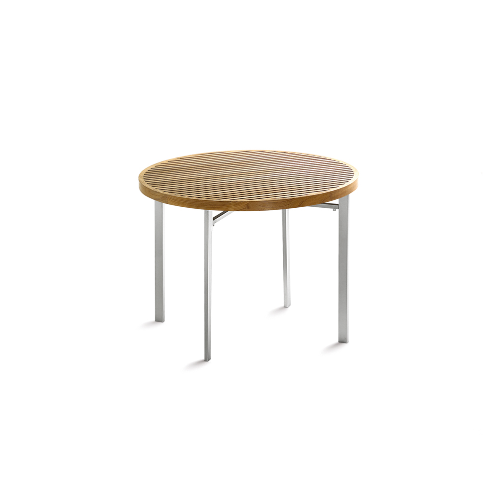 Jane Hamley Wells BEO_BO8120_A Modern Outdoor Round Side Table Teak Top  Stainless Steel