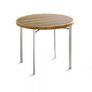 Jane Hamley Wells BEO_BO8121_A modern outdoor round table teak top stainless steel