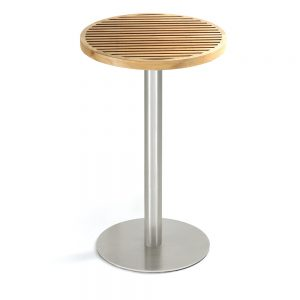 Jane Hamley Wells BEO_BO8123_A modern outdoor round high bar table teak top stainless steel