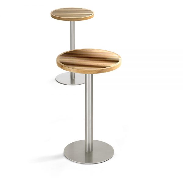Jane Hamley Wells BEO_BO8123_B modern outdoor round high bar table teak top stainless steel
