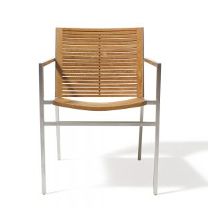 Jane Hamley Wells BEO_BO9101_A modern outdoor commercial stacking armchair teak stainless steel legs