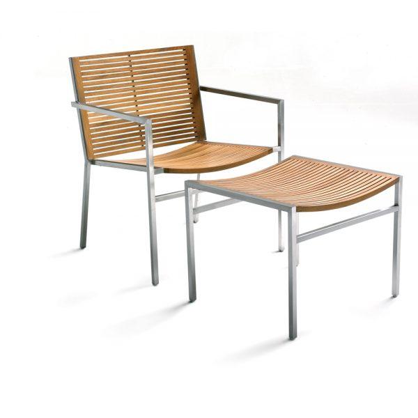Jane Hamley Wells BEO_BO9102_B modern indoor outdoor stackable lounge armchair teak stainless steel