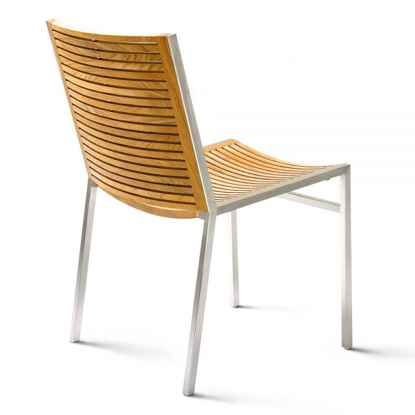 Jane Hamley Wells BEO_BO9103_B modern outdoor commercial stacking side chair teak stainless steel legs