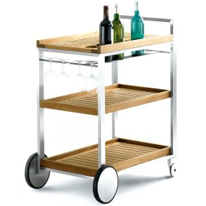 Jane Hamley Wells BIBI_BI4558 outdoor indoor wheeled serving cart teak shelves on stainless steel frame
