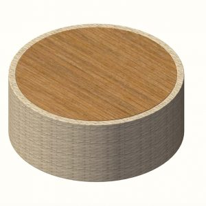 Jane Hamley Wells BIKEEZY Fluid DOVC_A low round side table teak top on woven base