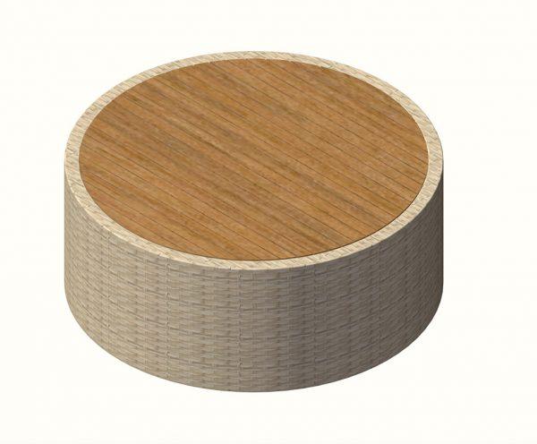 Jane Hamley Wells BIKEEZY Fluid DOVC_A low round side table teak top on woven base