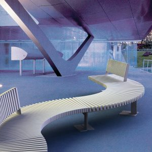 Jane Hamley Wells BOA commercial urban park benches polyethylene seats steel frames lifestyle_1