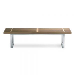 Jane Hamley Wells BOTANIC_BT3355A_A modern indoor outdoor large accent dining bench backless teak wood stainless steel