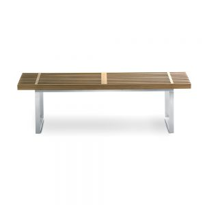 Jane Hamley Wells BOTANIC_BT3355B_A modern indoor outdoor medium bench backless teak wood stainless steel frame