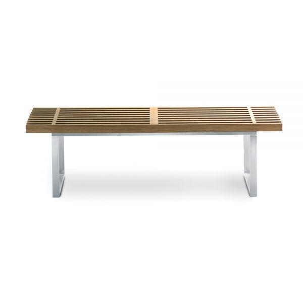 Jane Hamley Wells BOTANIC_BT3355B_A modern indoor outdoor medium bench backless teak wood stainless steel frame