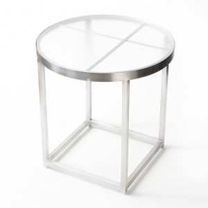 Jane Hamley Wells BOTANIC_BT8352-T_A modern indoor outdoor round side table tempered glass top stainless steel