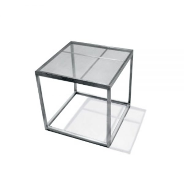Jane Hamley Wells BOTANIC_BT8356-T_A modern indoor outdoor square side table glass top stainless steel