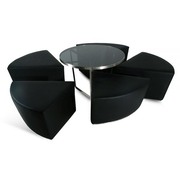 Jane Hamley Wells CAKE_CK01_B modern indoor outdoor bistro café set of 5 upholstered stools with low table